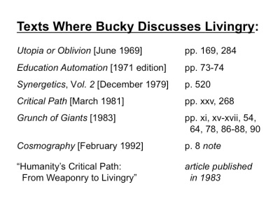 CLICK HERE for list of texts where Bucky discusses livingry.