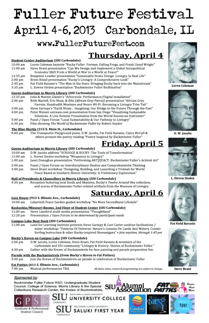 "2013 Fuller Future Festival Program Guide - 11"" x 17"" SCHEDULE Centerfold"